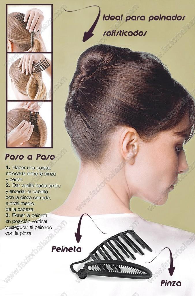 Este dispositivo es fácil de usar y permite afirmar el cabello en un  elegante moño...
